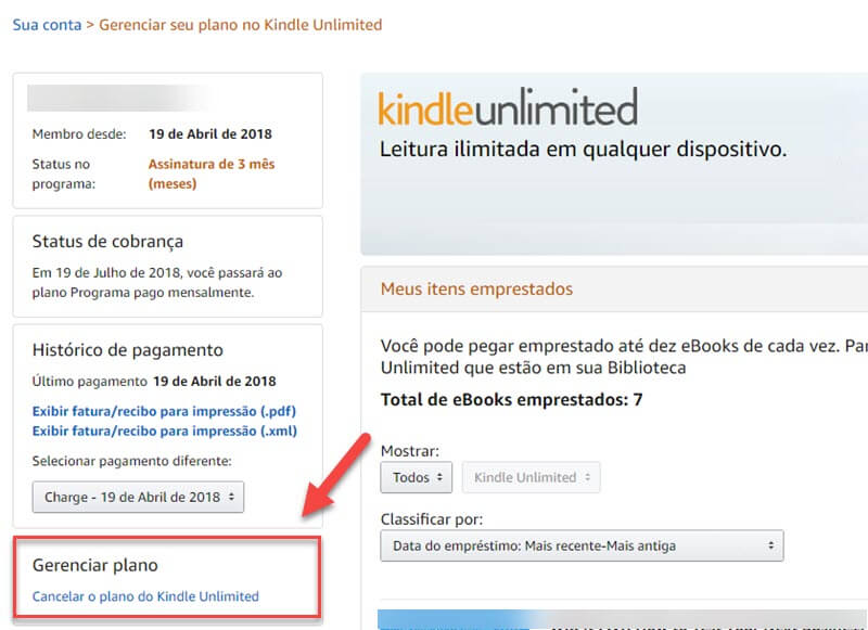Cancelar o Kindle Unlimited