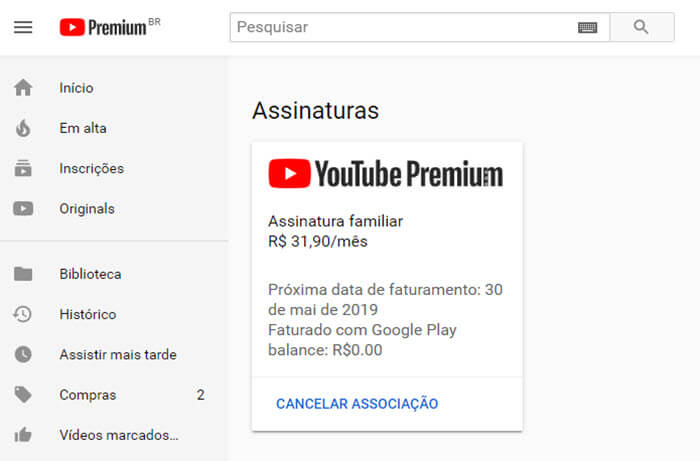 Como cancelar o YouTube Premium