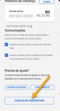 Cancelar assinatura Telecine Play MinhaConta Globo