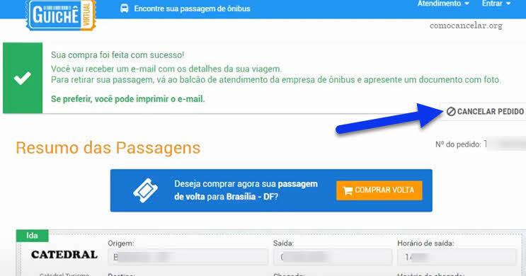 cancelar pedido de passagem no Guichê Virtual