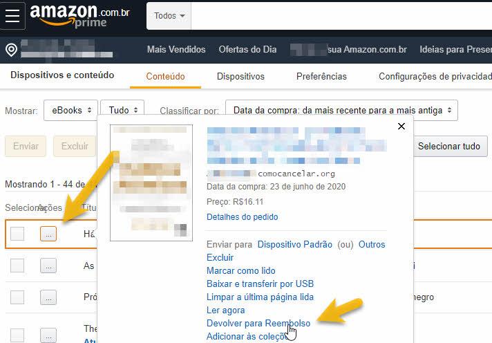 Como cancelar compra de eBooks Amazon e devolver