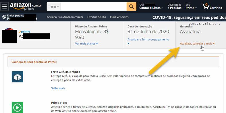 Atualizar cancelar e mais, cancelar assinatura Prime Amazon