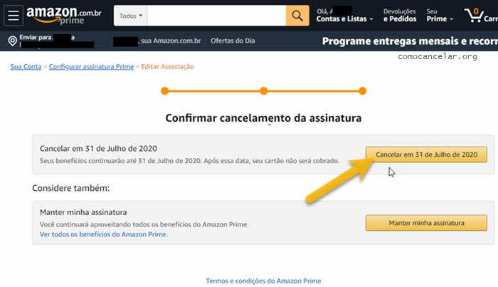 cancelamento da assinatura Prime Video Amazon