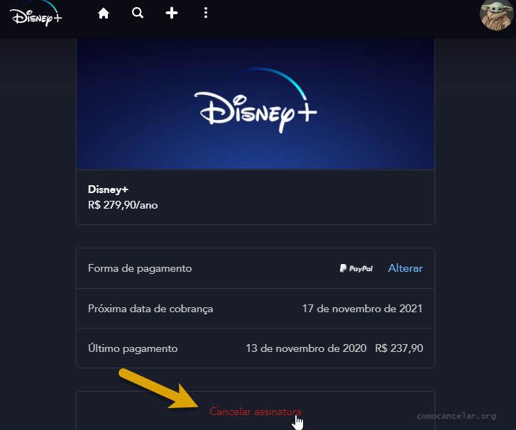 Procedimento para cancelar assinatura do Disney Plus pelo computador