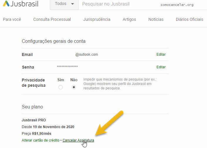 Como cancelar assinatura do Jusbrasil
