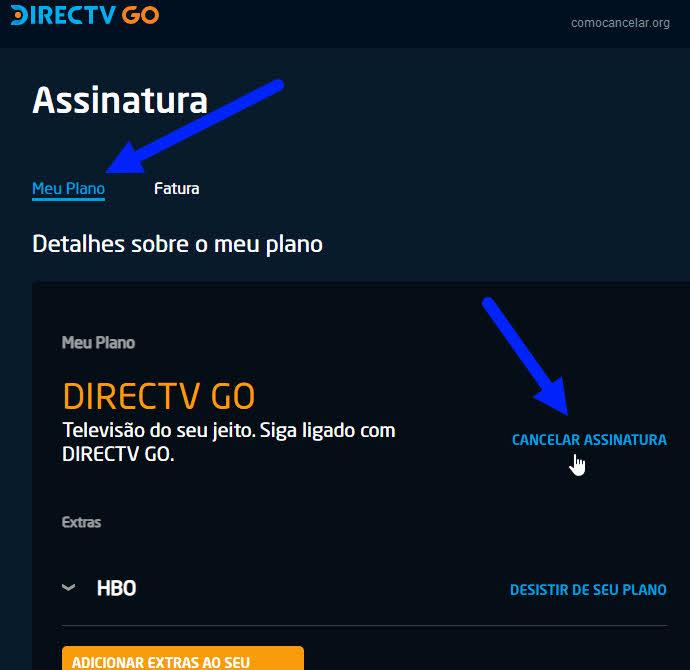 Como cancelar assinatura do Directv Go