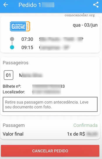 Cancelar pedido no Guichê Virtual pelo aplicativo