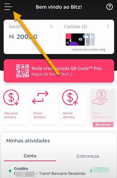 ícone menu app conta Bitz Bradesco