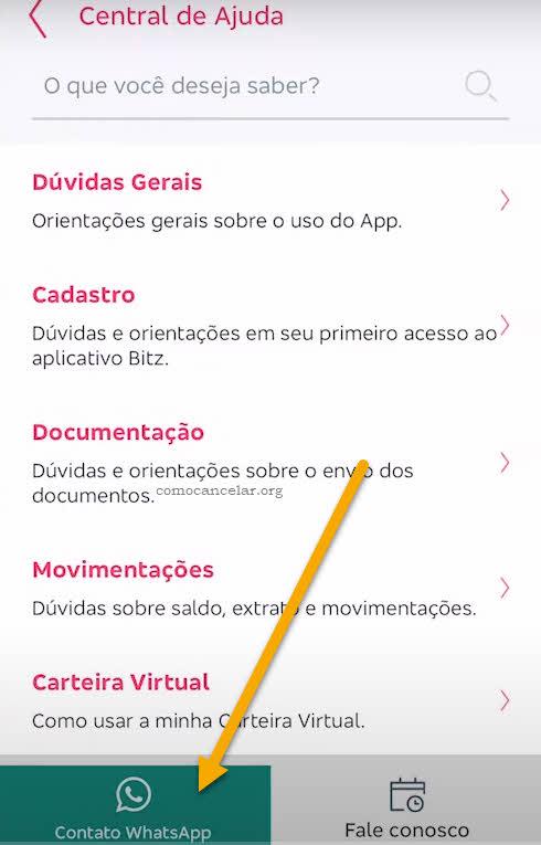 WhatsApp Fale Conosco, como cancelar carteira digital Bitz
