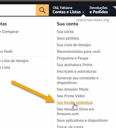 menu Amazon Seu Kindle Unlimited