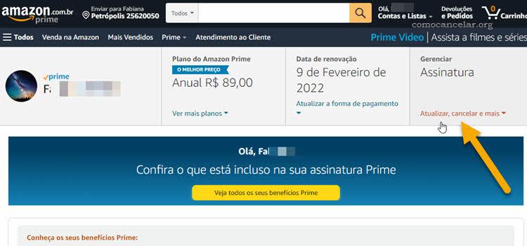 Procedimento para cancelar Amazon Prime